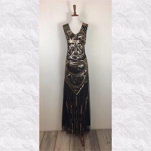 Vintage Sequin Sleeveless V-Neck Maxi Dress